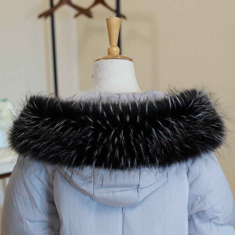 raccoon fur collar scarf 70cm 75cm 80cm 85cm 90 cm Big Size  Warm faux fur mink Long Scarf wrap for lady Coat Neck warmer wrap
