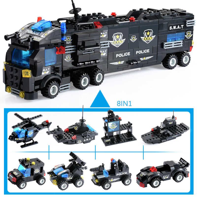 725PCS עיר משטרת סדרת עיר בלוקים DIY 8 ב 1 רכב רכב מסוק אבני בניין לבנים בניית צעצוע ילדים