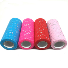 22M Glitter Sequin Tulle Roll 6 Inch 25 Yards Tutu Fabric Wedding Decoration Sewing Mesh DIY Organza Skirt Accessories