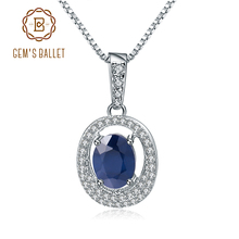 Gems ballet 3.24ct oval natural azul safira clássico pingente colar 925 prata esterlina pedra preciosa jóias finas para mulher