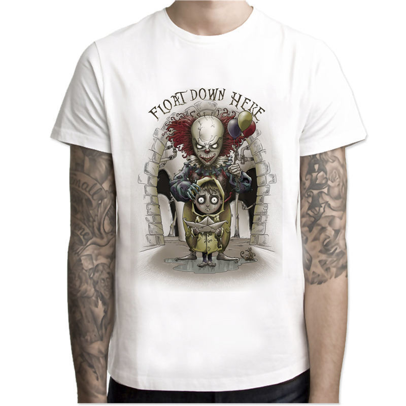 NewITMovieHalloweenPennywiseTShirtMen'sStephenKingHorrorMovieClownTopsTeesFearCOSPLAYMaleT shirt