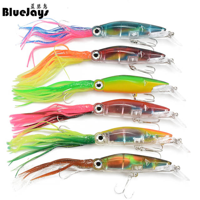 6pcs Fishing Lures Squid Octopus Jig with Skirt Bass Bait Hook Crankbait Tackle