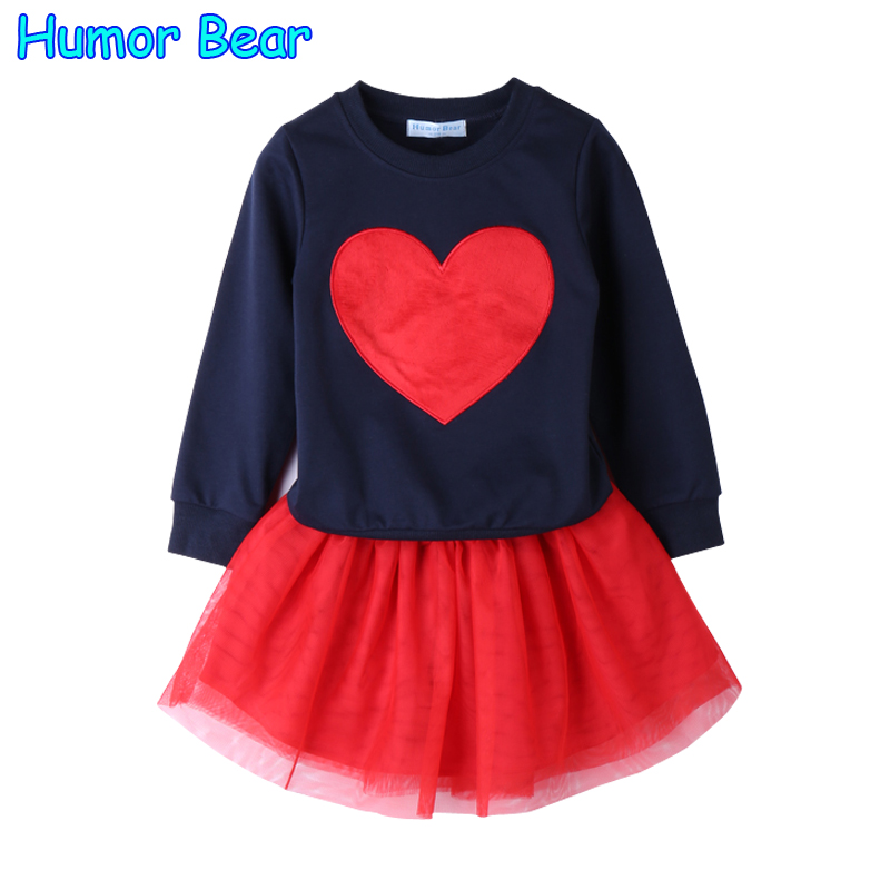 Humor Bear 2017 Autumn Baby Girl Clothes Girls Clothing Sets Love Long Sleeve + dress Casual 2PCS Girls Suits