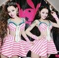 Сексуальные Женщины Танцуют Носить Розовый Современный Танец Сексуальный Костюм Джазовый Танец DS Этапе Выполнения Костюмы Для Певица Бюстгальтер + dress/юбка