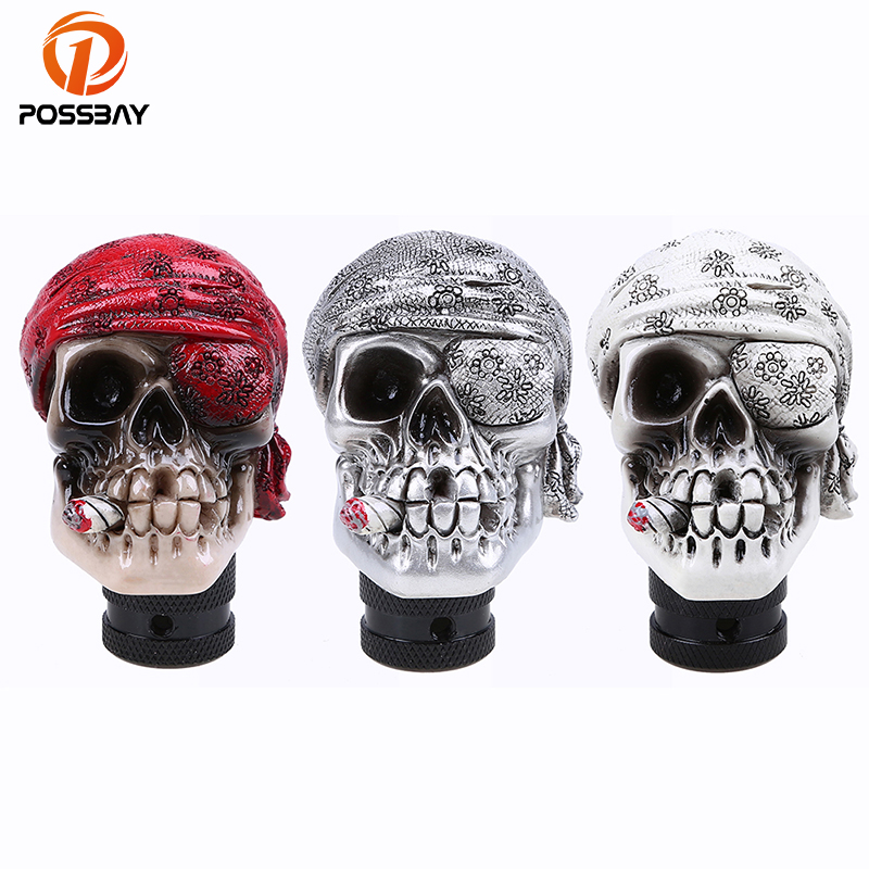 POSSBAY Universal Gear Shift Knob Car Skull Head Modification Resin Shift Knob for BMW Golf Opel Peugeot Gear Stick