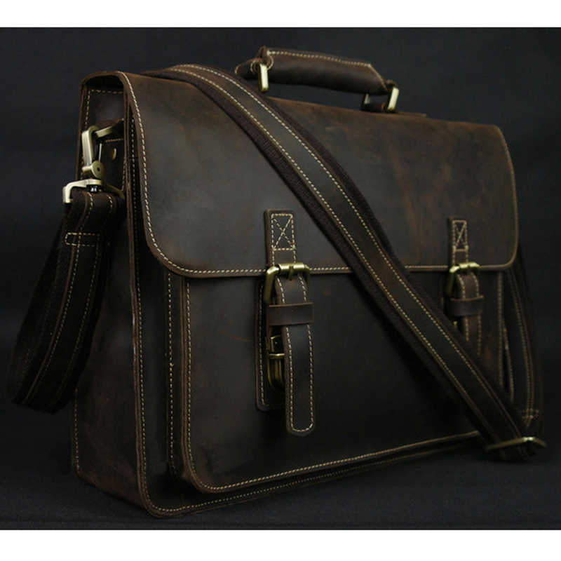 Vintage Crazy Horse Real Leather Shoulder bag Men crossbody bag Men Messenger Bag Genuine Leather Bag tote Handbag Leisure Brown
