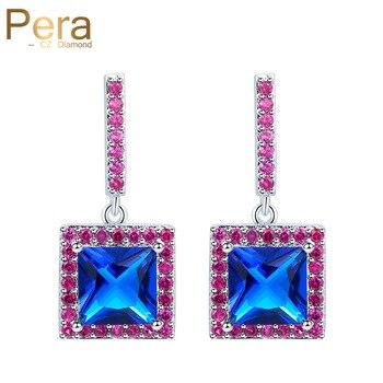 03dacfdcb50b Pera de moda estilo largo pendientes de las mujeres para regalo de Navidad  gran plaza Rosa rojo y azul joyas de Zirconia cúbica e312