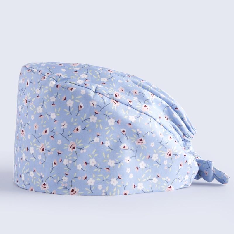 Women's Surgical Cap Nursing Medical Caps Scrub Hat 100% Cotton with Sweatband Tieback Dentist hats