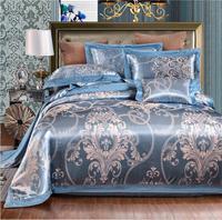 4pcs Jacquard Bedding set Luxury Silk Cotton Satin Duvet Cover Flat Sheet Linen Pillowcase King Queen Size Embroidered Bed Set