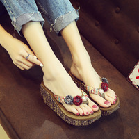 06f9988a5 Shoes Woman Summer Bohemia Slippers Fashion Toes Flip Flops Flower Womens  Wedge Sandals Casual Beach Slippers