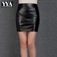 2019 New Genuine Leather Skirts Women Black Sheepskin Real Leather Office Lady Sexy Pencil Mini Skirts Slim Skinny Party Skirt
