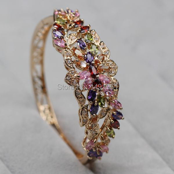 JINYAO magnifique couleur or Champagne coloré cristal AAA Zircon Bracelet Bracelet pour femmes de haute qualité mode bijoux Pulseira - 4