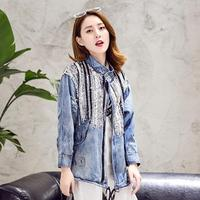 Denim Jacket Women Jacket Coats Bling Long Sleeves Blue Jacket Holes Washed Denim