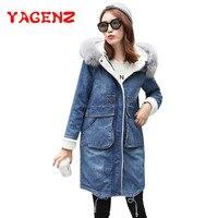 YAGENZ Fake fur Winter Denim Jacket Women Warm Long Coat Ladies Outwear Fashion Long Sleeve Casual Jacket Female Jeans Coat K144