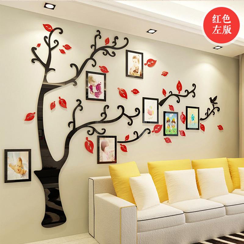 Large Family Cat and Dog Tree Wall Decals Acrylic Wall Stickers Mural Home Decor