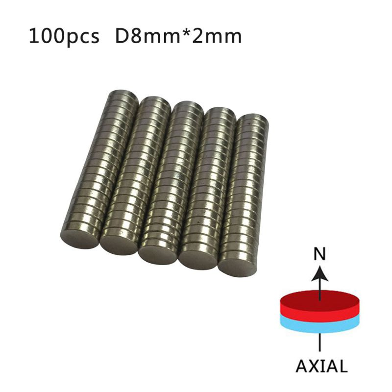 100 Pieces/pack Neodymium Rare Earth NdFeB Magnet N50 8mm x 2mm Disc Fridge Magnets Newest greeting word style fridge magnets 4 pack