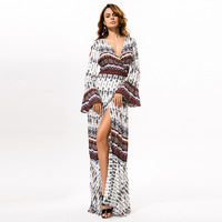 2016 Bohemian Style Long Loose Beach Dresses V Neck Fashion Ladies Casual Dress For Summer