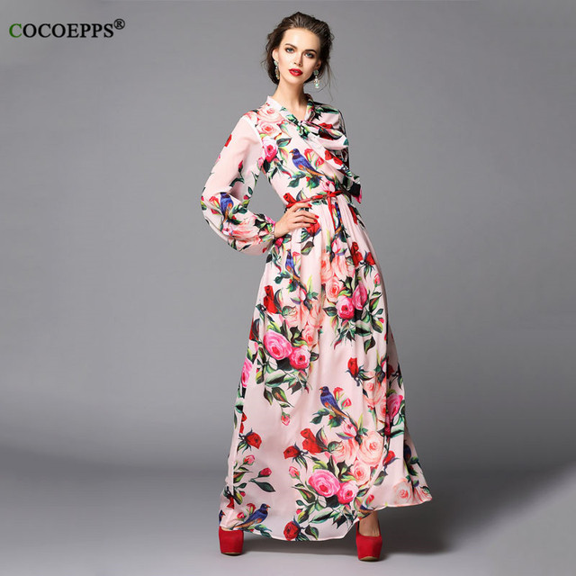 7e372a68831 COCOEPPS Pink Long Sleeve Maxi Dress Rose Print Long Dresses Floral V Neck Black  Dress Printed Formal Dresses Flower