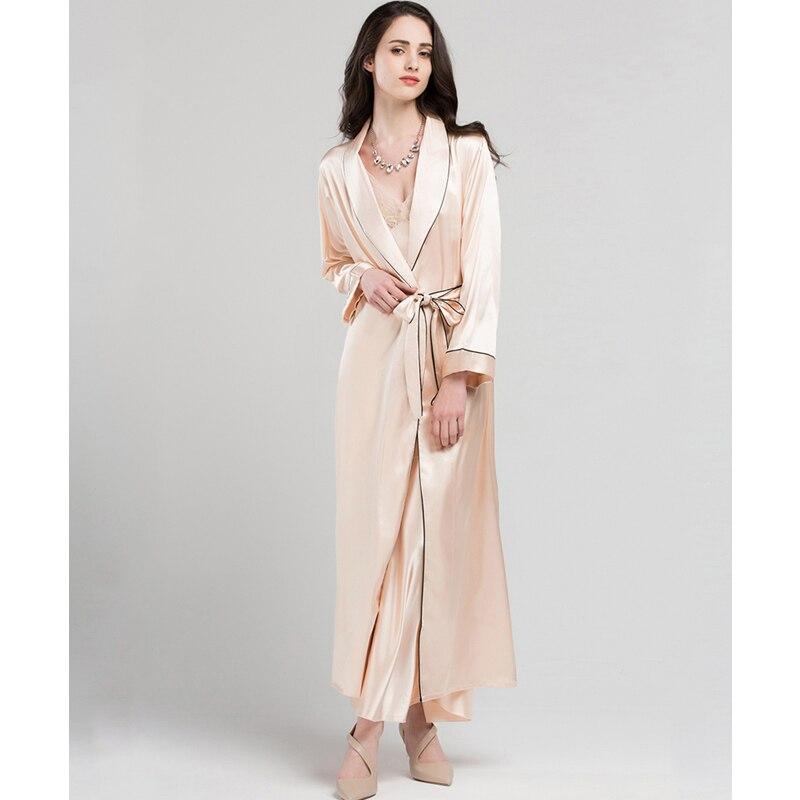 Satin Silk Sleeping Robes Female Summer Sexy Bride Dressing Gown Fashion Simple Faux Silk Sleepwear Women Long Bathrobe T0801