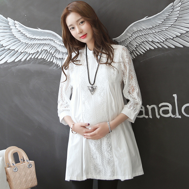 Hollow Out Front Maternity Blouses Tops Pregnancy Clothes Fos