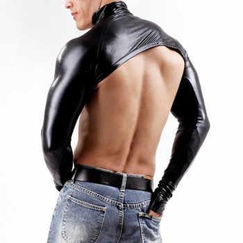 2018 Sexy Latex Bodysuit Catsuit Men Long Sleeve DJ Body Suits Nightclub Bodies Sex Product Gloves PVC Black Erotic Leotard