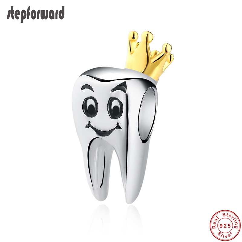 New Arrival Top Quality Popular Lovely Gold Crown 925 Real Silver Crown Teeth Charm Fit Bracelet Bangle Beads For Jewelry MakingNew Arrival Top Quality Popular Lovely Gold Crown 925 Real Silver Crown Teeth Charm Fit Bracelet Bangle Beads For Jewelry Making
