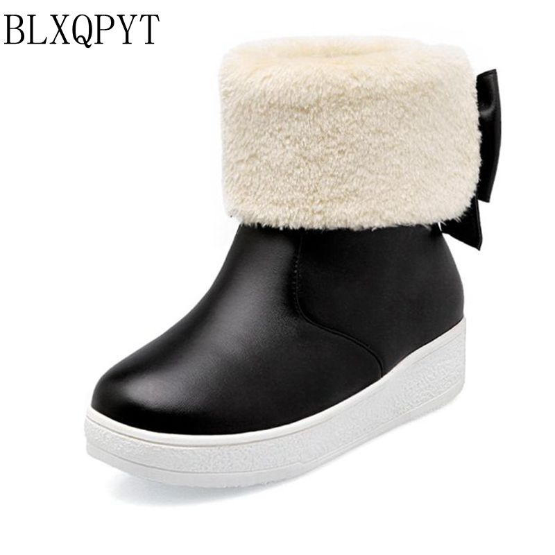Real Botas Mujer Snow Boots Big Size 34-43 New Round Toe Buckle Boots For Women Casual Heels Fashion Warm Winter Shoes 77-2