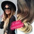 Hot queen brown & blonde ombre extensiones de cabello humano 7 unids/set 70g 5A Ondulado Brasileño Remy Clip En Extensiones de Cabello Humano En Stock