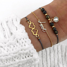 3 Pcs/set Women Fashion Vintage Double Heart LOVE Letter Crystal Pendant Beaded Leather Bracelet Set Charm Jewelry Accessories(China)