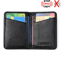 New Foreign Trade Genuine Leather RFID ID Holders Cards Pack Ultra thin Anti-magnetic Anti-scan 2 Folds Bank Credit Card Holder