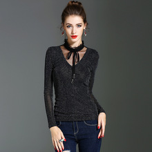 1pcs Ladies Plus size Sexy blouses tops 2018 Autumn mesh turtleneck Hollow Primer shirt women's Skinny Retro Sexy shirts Girls