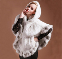 Top quality European Design Luxury hooded Genuine Mink fur knitted cape pashmina Fashion genuine fur shawls