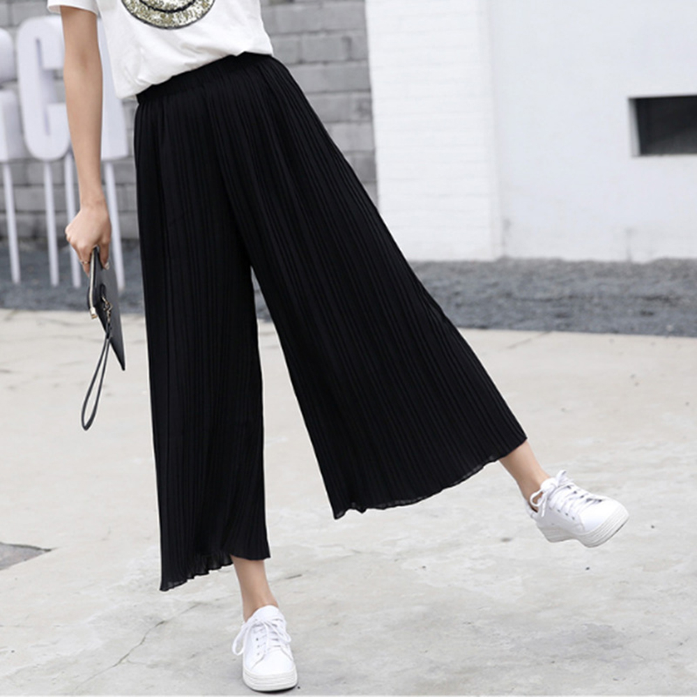 Women High Waist Pleated Chiffon   Wide     Leg     Pants   Summer Loose Flared Elegant Trumpet Solid Color Black Elastic Casual Trousers