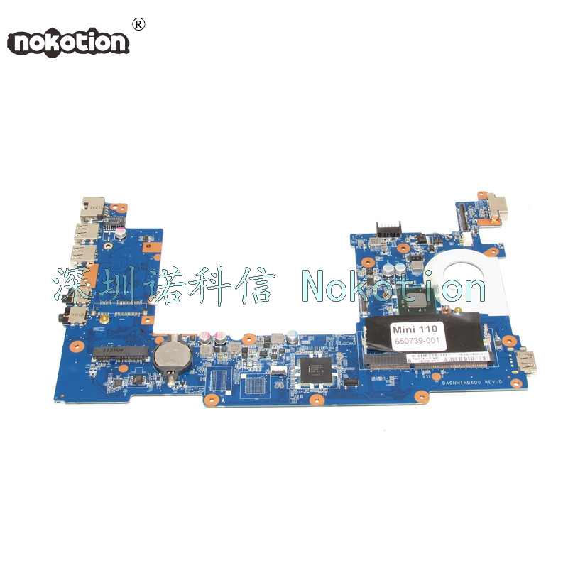 NOKOTION Hot Sale 650739-001 laptop motherboard for HP mini 110 DA0NM1MB6D0 31NM1MB0040 intel N570 DDR3 Mother Board Full Tested 598449 001 laptop motherboard mini 5101 5102 5105 5% off sales promotion full tested