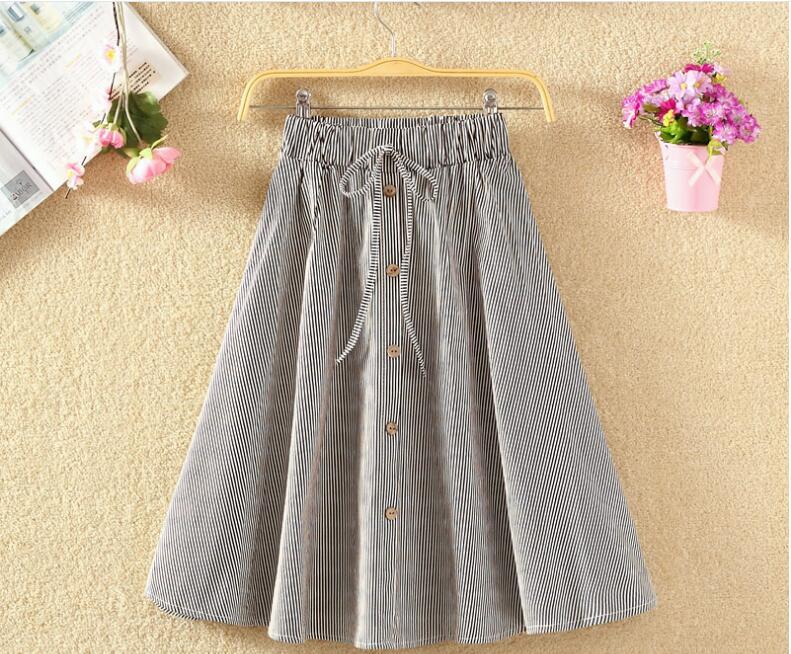 Cotton Linen Pink Striped Skirts Women 2019 Summer A-line High Waist Knee Length  Female School Girls Skirt Casual Fashion