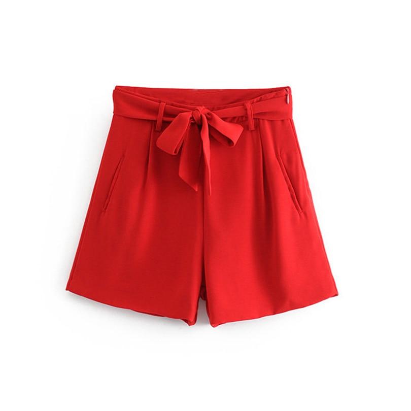 Women Stylish Red Shorts Sashes Pockets Side Zipper Fly Female Elegant Casual Chic Shorts Pantalones Cortos