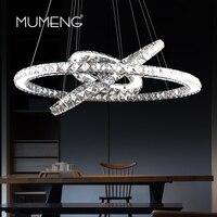 mumeng Crystal Chandelier 3 Ring Hanging Light K9 crystal stainless steel Kitchen Lustre 90 265V Free Adjustable Light Fixture