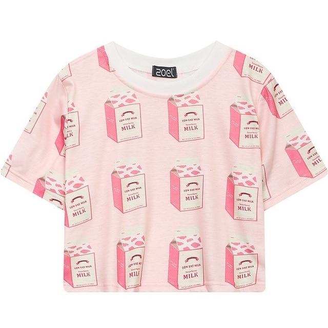 498441cfc594 Women Crop Top 2018 Summer Kawaii Cropped T-shirt Cute Pattern Print Tshirt  Cropped Graphic