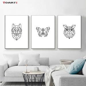 Image 2 - מינימליסטי בעלי חיים הדפסי כרזות נורדי צבי פרפר בד ציור על קיר לסלון חדר שינה בית תפאורה יצירות אמנות
