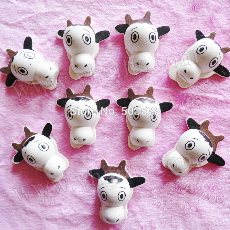 50PCS/LOT.Wood cow stickers,3x3.3cm.Kids toys,scrapbooking kit,Early educational DIY.Kindergarten crafts.Classic toys