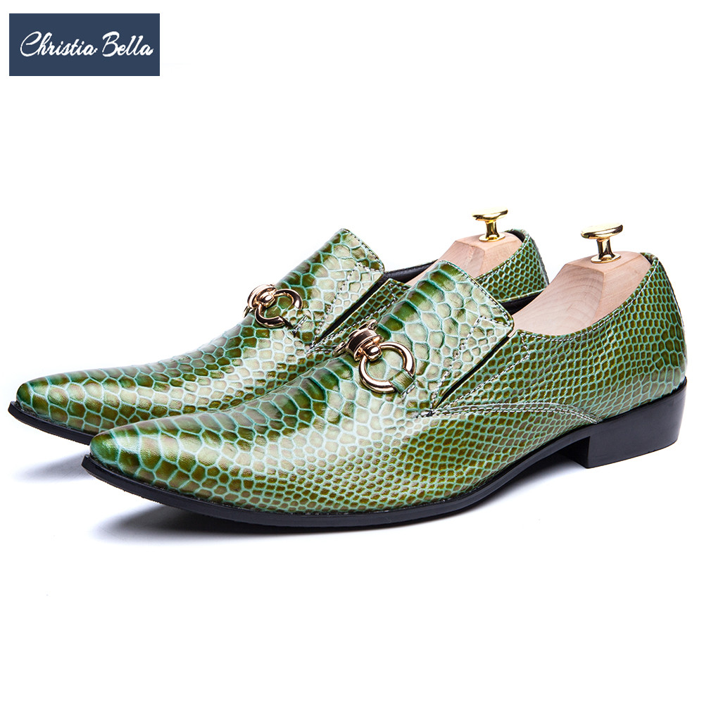 Christia Bella Italian Green Genuine Leather Men Shoes Fashion Pointed Toe Slip on Men Dress Shoes Party Business Formal Shoes