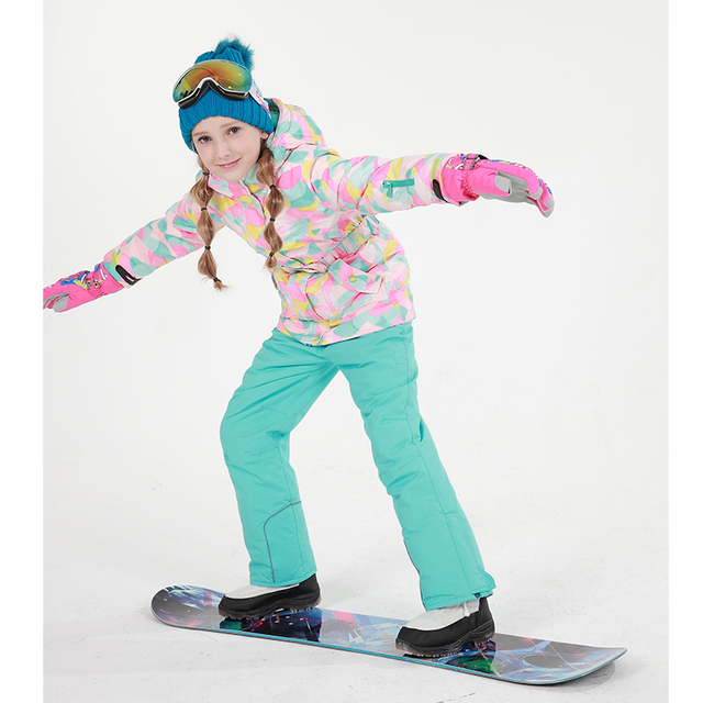 Girls Ski Jacket + Pants Children Winter Clothing Set