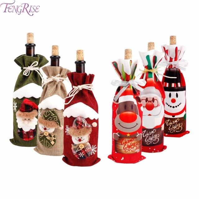 FengRise dekoracje na boże narodzenie dla domu wina Santa Claus pokrowiec na termofor Snowman pończochy prezent posiadacze prezent na boże narodzenie Navidad wystrój nowy rok