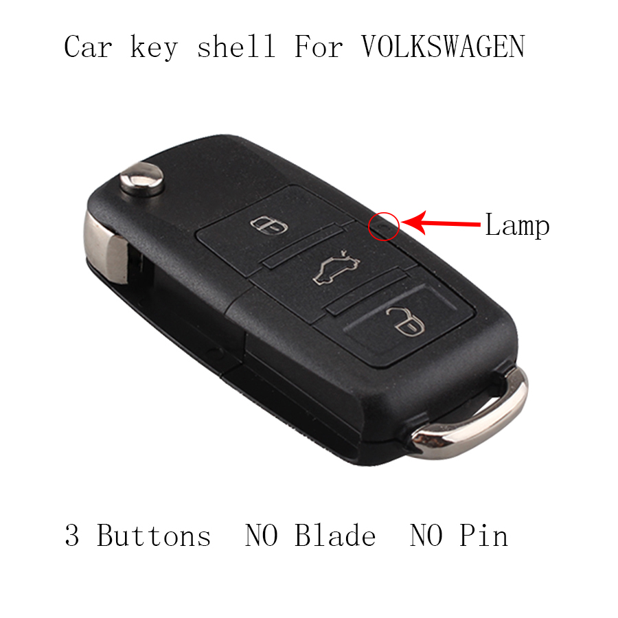3 Buttons NO Blade Replacement Key Shell for VW SEAT SKODA Flip Remote Key Case For VW VOLKSWAGEN 1J0959753DA key shell