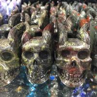 1pcs Natural Dragon Blood Stone Crystal Skulls Decorated Wing Skull Collection