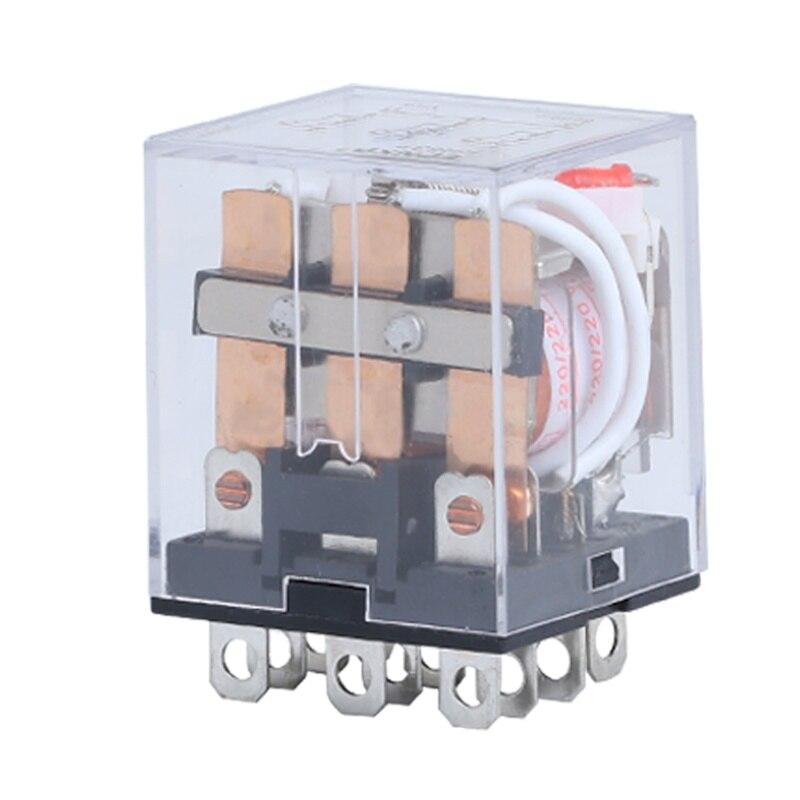 Small relay HH63P intermediate relay electromagnetic relay 12V24V220V380V can replace LY3NJ intermediate relay jqx 38f 3z 40a power relay electromagnetic relay 11pin dc12v dc24v ac110v ac220v