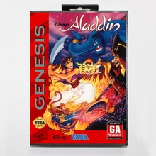 Aladdin 16 bit MD card with Retail box for Sega MegaDrive Video Game console system