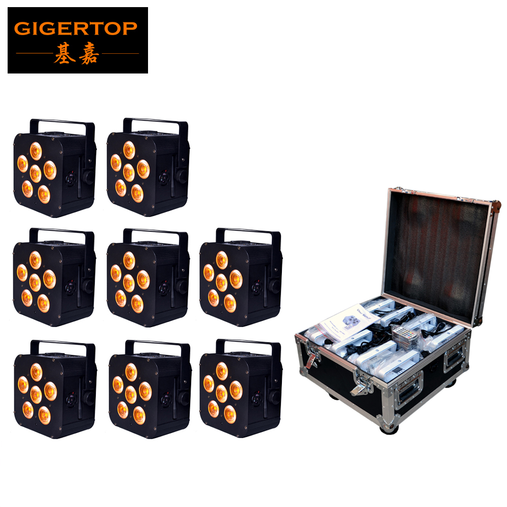 8IN1 Charging Flightcase Packing 6pcs*18W 6in1 RGBAW UV Battery Power Wireless LED Par Light,LED Slim Par Can Event,Disco Party