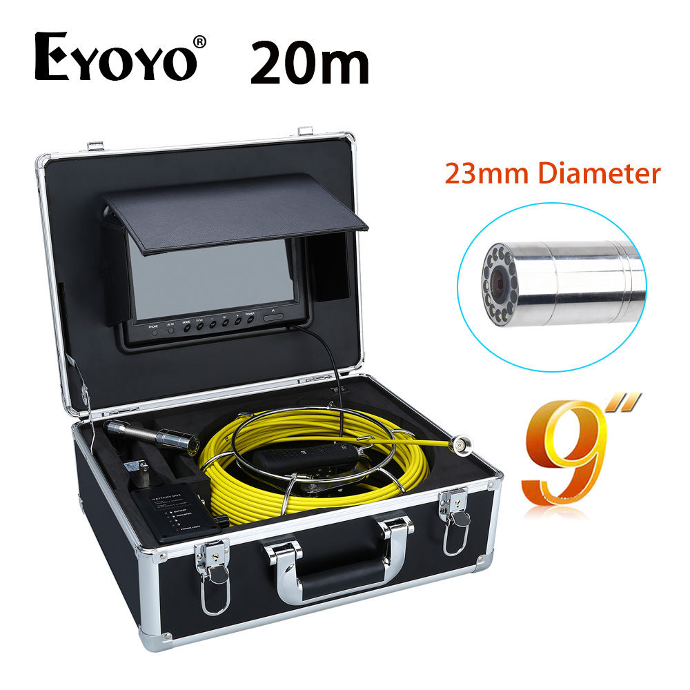 Eyoyo WP90A 20M 9LCD 23mm Wall Drain Sewer Inspection Camera System Snake Endoscope CMOS 1000TVL Waterproof 12PCS White LEDS