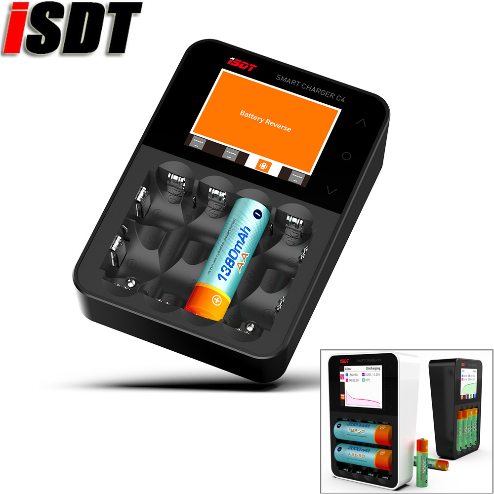 ISDT C4 8A Touch Screen Smart Battery Charger/Discharge Screen & USB Output For 18650 26650 AA AAA Rechargeable Battery(Black) convenient storage organizer carrier nylon bag for 18650 26650 battery black